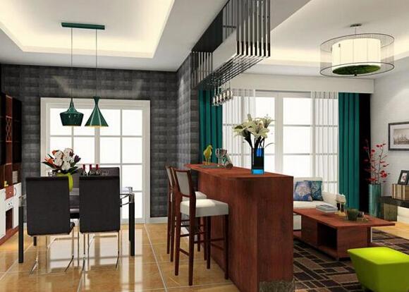 客厅方柱子做吧台装饰效果图